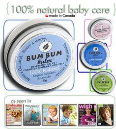 Dimpleskins Naturals~ 100% natural baby care.  Home of the ORIGINAL Bum Bum Balm.  Zinc-free, cloth diaper safe.