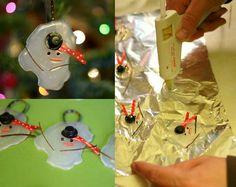 Glue gun melting snowman ornament!