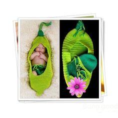 Newborn Crochet Cocoon Pea Pod, Hat, Diaper Cover, Prop