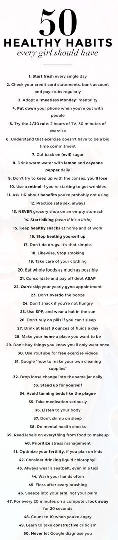50 healthy habits- love this! I already do a lot of these :)