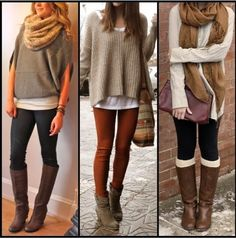 Sweater and scarf casual fashion trend