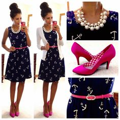 Dressy-Work Appropriate/ White Cardigan, Navy dress with white anchor print, fuchsia belt, fuchsia pumps, peal and gold statement necklace