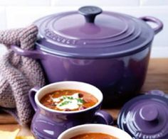 Le Creuset Dutch oven in purple.