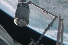 Cygnus, a new commercial spacecraft built to haul cargo to the International Space Station for NASA, made its debut delivery to the orbiting lab early Sunday. (via space.com; photo: NASA TV)