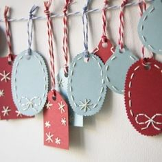Miniature Rhino embroidered gift tags
