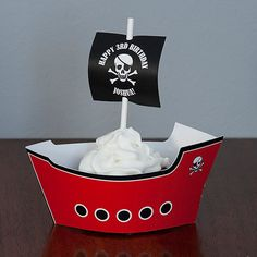 Pirate Ship Cupcake Wrapper - Pirate Birthday Party - Red, Black & White - Qty: 12 on Etsy, $15.00