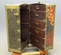 Early painted theater trunk. 24 W 22 D 41 Ht.