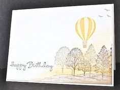 Stampin' Up ideas and supplies from Vicky at Crafting Clare's Paper Moments: Up Up and Away yellow balloon