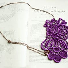 $39.00  lace necklace -ISABELLA- (purple)