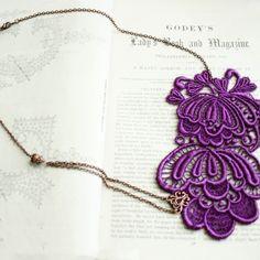 $39.00  lace necklace -ISABELLA- (purple)