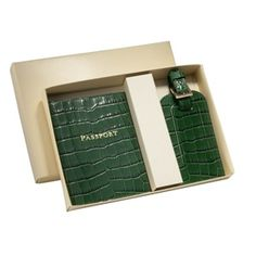 Graphic Image travel set: Luggage Tag & Passport Case in Embossed Crocodile Emerald Leather