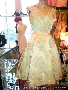 Dreamy 1950s ivory satin dress with hand beading and lace at The Attic in Columbus, MS