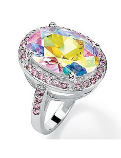 Aurora Borealis & Pink Cubic Zirconia Ring | Lane Bryant
