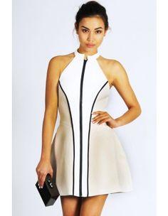 NOW OR NEVER White Neoprene Dress