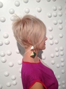 best short haircut & blond color