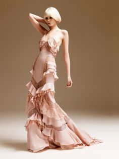 pale pink lace, this with a leather jacket and boots, steam punk!