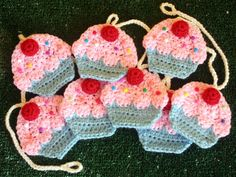 Cupcake crochet garland free instructions. Scroll down a ways for the pattern. These could make cute coasters also.