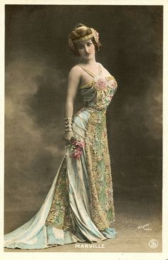 Marville  Hand tinted real photo postcard by Walery of Marville, probably the most frequently photographed French stage celebrity of the period. Unused. C. 1905.