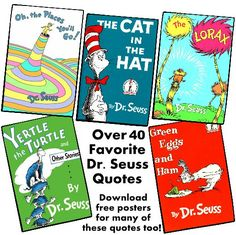 This Dr. Seuss page contains over 40 of his most famous quotes.  There are FREE downloadable posters for many of these Dr. Seuss quotes that teachers can use to decorate their classroom bulletin board displays.