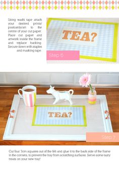 tutorial for converting picture frame into serving tray