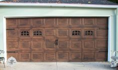 Step-by-step to painting your garage door with a faux stained wood effect.