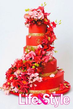 Red wedding cake from Ron Ben-Israel.