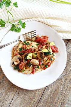 Italian Chicken, Mushroom, and Zucchini Skillet  -----Italian is often my go-to cuisine when I want something easy. There are so many things you can do with tomatoes, olive oil, and your favorite Italian herbs.