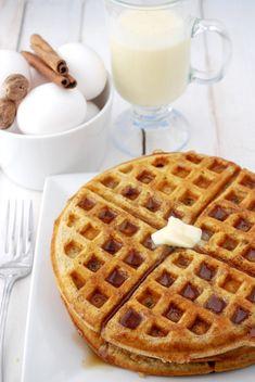 Eggnog Waffles on http://www.cakeandallie.com
