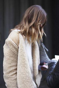 jacket, hair colors, ombre hair, wave, fur