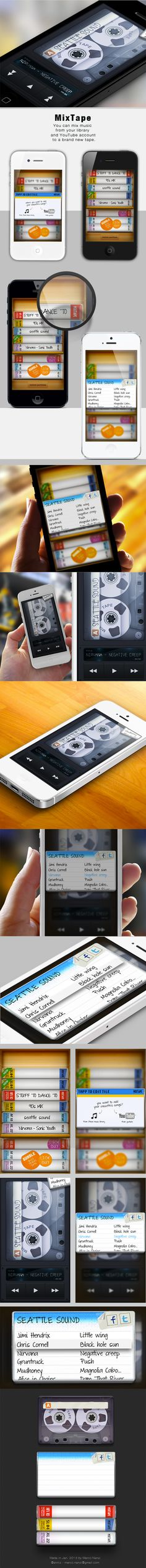 MixTape - iOS Music App - mix music from your library or YouTube account to a brand new mix tape playlist | Designer: Marco Nenzi