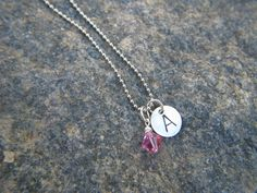 Tween Girl's personalized Initial birthstone Necklace. $12.50, via Etsy.