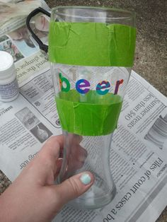 DIY glass etching: beer glass !! Going to make a few of these for my boyfriend and his friends using Dollar Store glasses. GENIUS Christmas gifts!