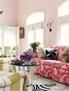living rooms, couch, mixing patterns, colorful rooms, wall color, colors, mixed prints, hous, live room