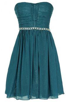 Metallic Shimmer Embellished Strapless Dress in Teal