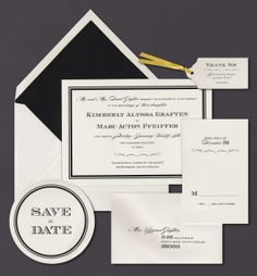 Our Double Black Frame invitation suite is shown here thermograph printed in midnight ink.