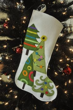 wool felt Christmas stocking with hand appliqued embroidery