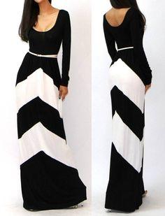 Adorable long chevron black and white dress
