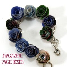 paper roses, recycled magazine crafts, paper flower jewelry, magazine jewelry, rose bracelet, bracelets, recycle magazines, craft decorations, recycled magazines