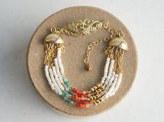 Beaded bracelet israeli jewelry. Gold ivory coral by Kvalwasser