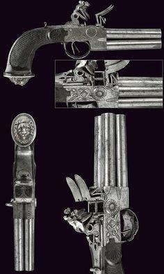 A four barreled flintlock pocket pistol, dating: circa 1800  provenance: Belgium