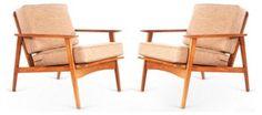 Danish Modern Lounge Chairs, Pair