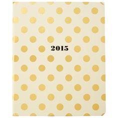 2014-2015 Kate Spade Large Planner Gold Dots by Kate Spade New York #KateSpadeNY #ModernFemme #GoldenGirl #IndigoPaper