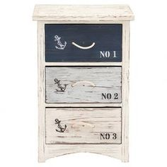 """Showcasing eye-catching anchor accents and a stenciled typographic motif, this weathered 3-drawer chest brings a nautical touch to your master suite or home library.   Product: ChestConstruction Material: WoodColor: Distressed white, blue and blackFeatures:  Three drawersStenciled typographic motifDimensions: 30"""" H x 19"""" W x 12"""" D"""