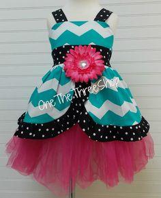 Custom Boutique Clothing  Chevron Blue Big Flower  Sassy Girl