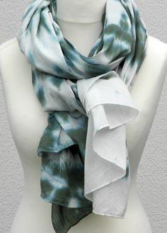 Dark Green Cotton Scarf Extra Long Wide Tie Dye