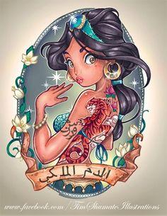 princess jasmine, cartoon characters, disney princesses, tattoo artists, a tattoo, disney tattoos, design, pin up girls, disney characters