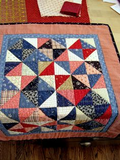 Cute doll quilt color, red white blue, doll quilt, blue quilts, happi quilt, sew happi