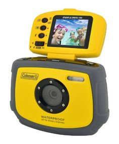 """Coleman C4WP-Y Waterproof with 1 x Optical Zoom 1.8-inch LCD Screen Yellow by Coleman. $89.00. The Coleman Xtreme C4WP digital camera is the perfect camera for young  teens and children. The camera is waterproof up to 10 feet making it perfect for swimming pools and water parks. It is shock resistant and has solid rubber housing making it extremely durable. The camera features a 1.8"""" flip up LCD screen and boasts an 8x digital zoom. The camera also has 12 meg..."""
