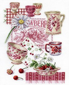 Red and white cross stitch. (FREE pattern on the right-hand side at this link). Crossstitch, Cross Stitch Charts, Afternoon Tea, Strawberri, Crosses, Cross Stitch Patterns, Cherries, Cross Stitches, Kitchen Stuff