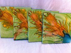 Alcohol Ink Coasters by InkAholicDesigns on Etsy, $14.00
